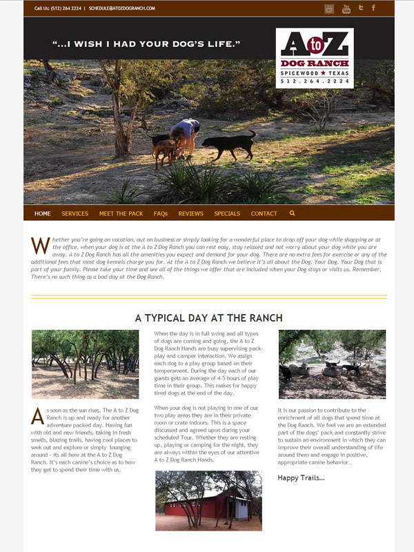 A To Z Dog Ranch Website