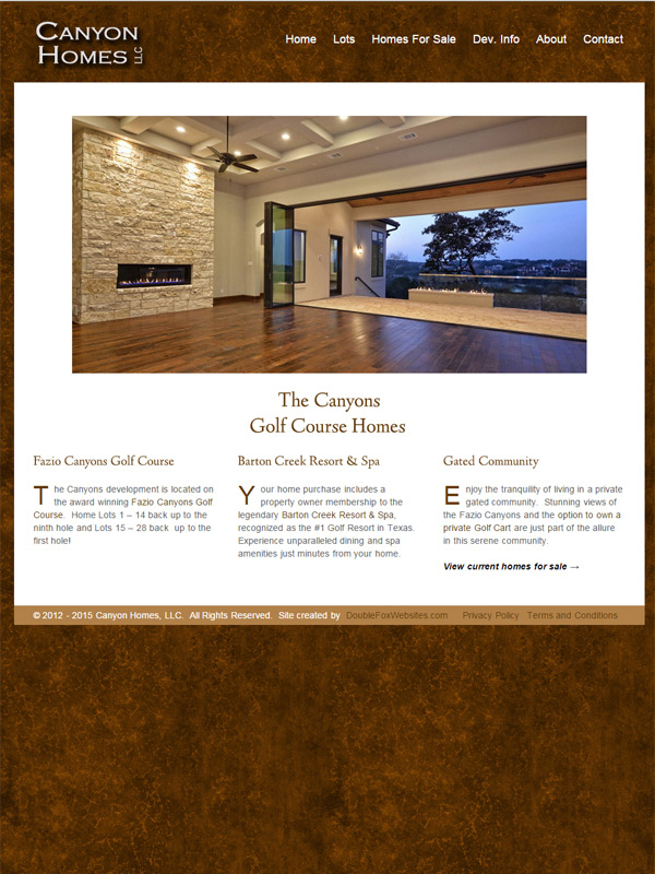 Canyon Homes Website