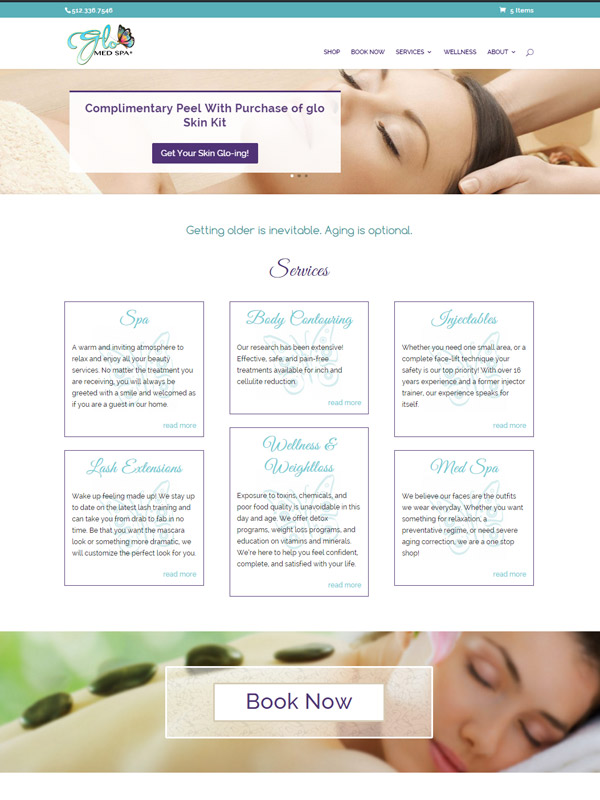 Glo Med Spa Austin Website