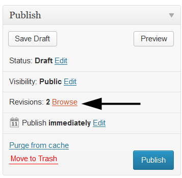 Viewing revisions in WordPress
